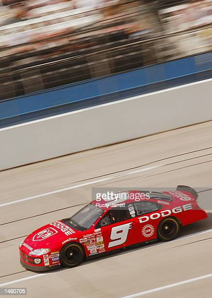 Bill Elliott driver of the Evernham Motorsports Dodge Intrepid R/T in action during practice for the EA Sports 500 at Talladega Superspeedway on...
