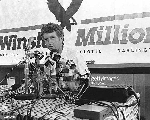 Bill Elliott speaks to the media concerning the Winston Million Elliott took the milliondollar prize offered by the RJ Reynolds Company after winning...