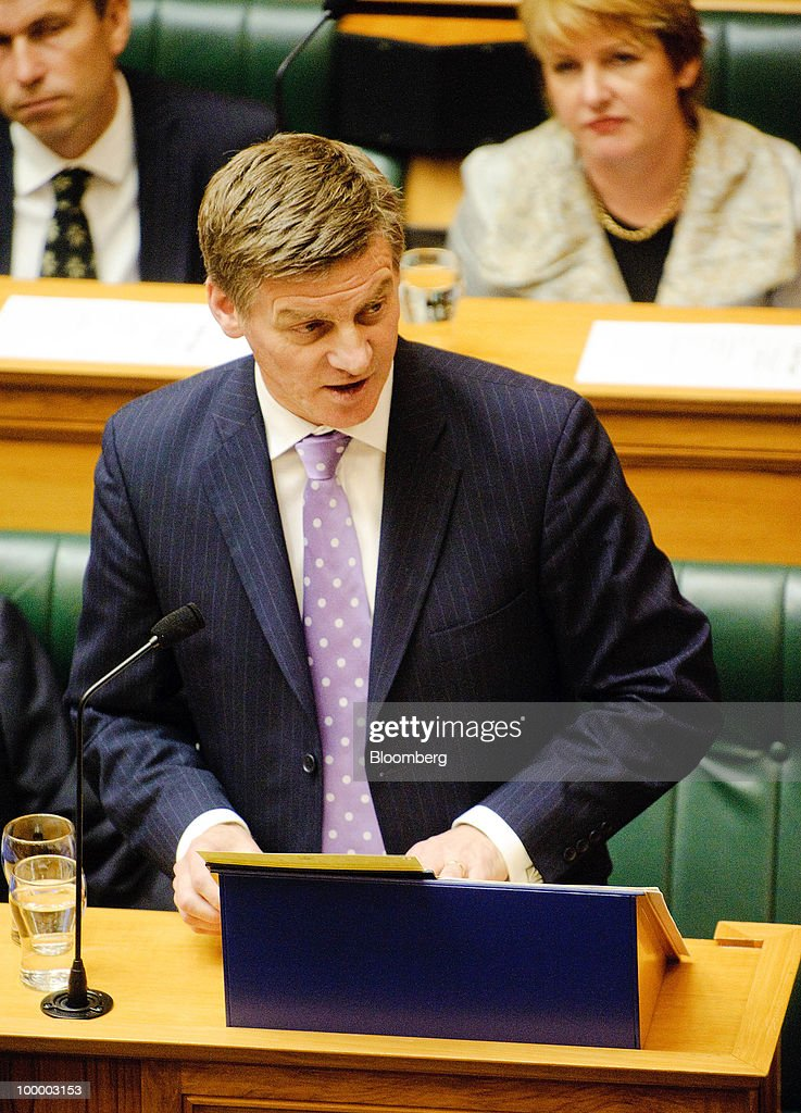 Bill English, New Zealand's finance minister, reads the budget in Parliament, in Wellington, New Zealand, on Thursday, May 20, 2009. New Zealand will raise sales tax for the first time in two decades and lower income taxes to encourage household saving, aiming to reduce the economy's 'vulnerability' to concerns about sovereign debt. Photographer: Mark Coote/Bloomberg via Getty Images