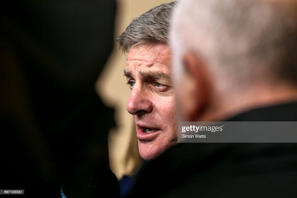 Bill English, the Prime Minister of New Zealand talks to media on June 18, 2017 in Auckland, New Zealand. The $1.4 billion Waterview Connection is part of the Western Ring Route, one of the NZ Government's seven Roads of National Significance.