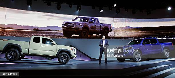 Bill Fay Group Vice President and General Manager Toyota Division speaks at the new Tacoma midsize pickup truck reveal at the 2015 North American...