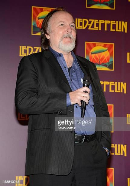 Bill Flanagan speaks on stage at Led Zeppelin Celebration Day Press Conference on October 9 2012 in New York City Led Zeppelin's John Paul Jones...
