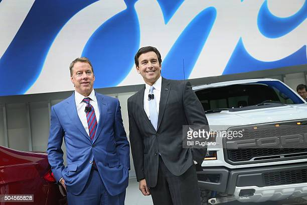 Bill Ford executive chairman and Mark Fields President and CEO of the Ford Motor Company pose after the introduction of the 2017 Fusion and new F150...