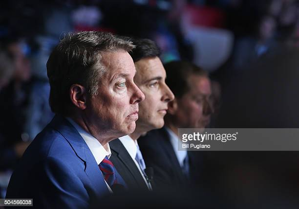 Bill Ford executive chairman and Mark Fields President and CEO of the Ford Motor Company watch the introduction of the 2017 Fusion and new F150...
