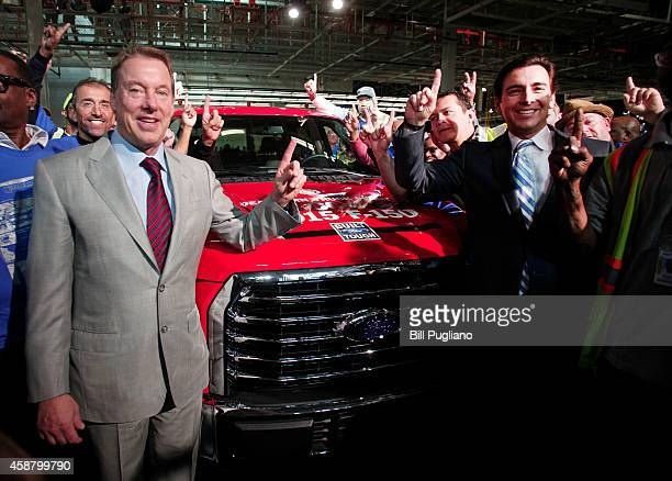 Bill Ford Executive Chairman of Ford Motor Company and Mark Fields Ford President and CEO pose with the first production allnew 2015 F150 to roll off...
