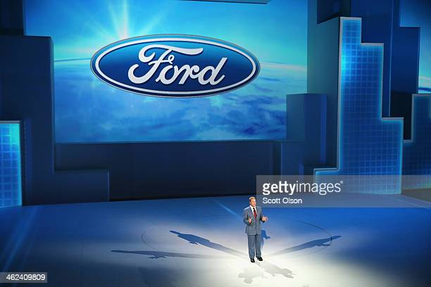 Bill Ford executive chairman of Ford Motor Company helps to introduce the new Ford F150 pickup truck at the North American International Auto Show on...