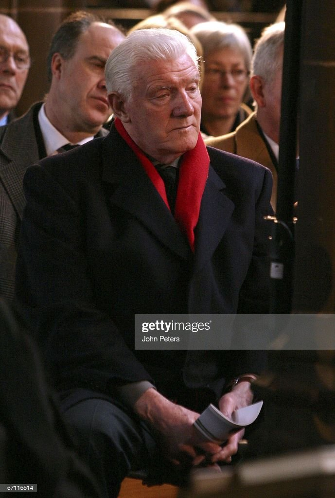 Bill Foulkes attends the George Best Memorial Service at Manchester Cathedral on March 16 2006, in Manchester, England.