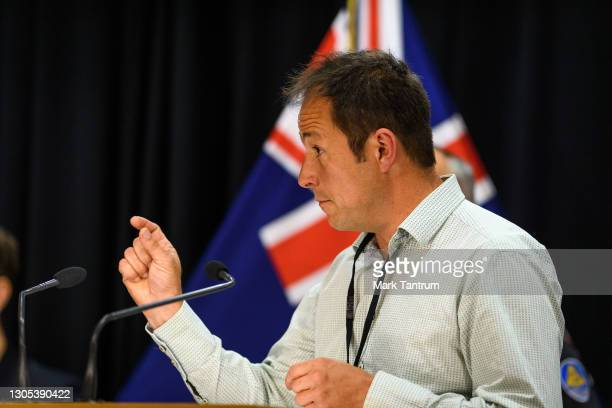 Bill Fry, GNS Seismologist Tectonophysicist speaks to media on March 05, 2021 in Wellington, New Zealand. Tsunami warnings are in place for large...