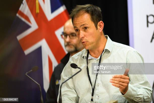 Bill Fry, GNS Seismologist Tectonophysicist speaks with media on March 05, 2021 in Wellington, New Zealand. Tsunami warnings are in place for large...