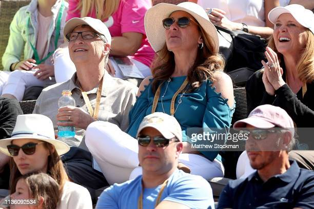 Bill Gaates and Melinda Gates watch Rafael Nadal of Spain play Karen Khachanov of Russia during the quarterfinals of the BNP Paribas Open at the...