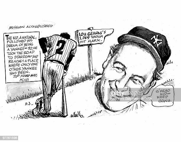 Bill Gallo cartoon about Derek Jeter breaking the Lou Gehrig hit record for September 17 2008