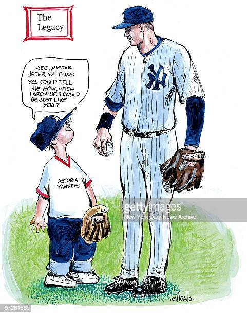 Bill Gallo Cartoon for 9/25/2009 Derek Jeter and kid Gee Mister Jeter You think you could tell me how when I grow up I could be just like you