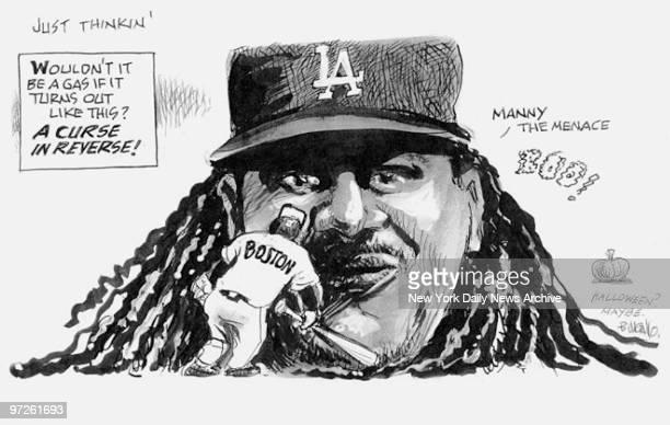 Bill Gallo Cartoon from October 8 shows Manny Ramirez Manny the Menace facing Boston