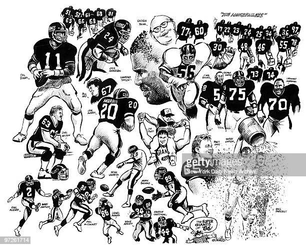 Bill Gallo cartoon on the '86 Giants group drawing of team