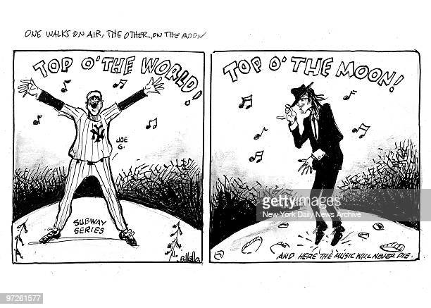 Bill Gallo Cartoon reads One Walks on Air The Other On the Moon depicts Yankees during subway series and Michael Jackson doing moonwalk