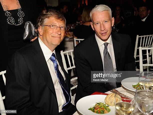 Bill Gates and Anderson Cooper attend Together To End AIDS An Evening To Benefit amfAR and GBCHealth at John F Kennedy Center for the Performing Arts...