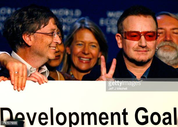Bill Gates and Bono attend a press conference during the third day of the World Economic Forum January 25 2008 in DavosSwitzerlandSome of the World's...