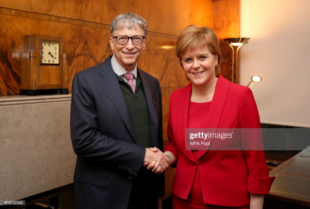 Bill Gates and First Minister Nicola Sturgeon attend a meeting at St Andrew's House, on January 26, 2018 in Edinburgh, Scotland. Bill Gates was there to hear a presentation on work being carried out as part of the NHS Global Citizenship Programme.
