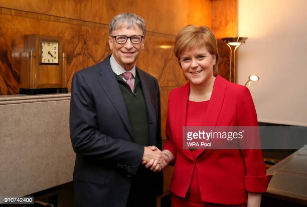 Bill Gates and First Minister Nicola Sturgeon attend a meeting at St Andrew's House on January 26 2018 in Edinburgh Scotland Bill Gates was there to...