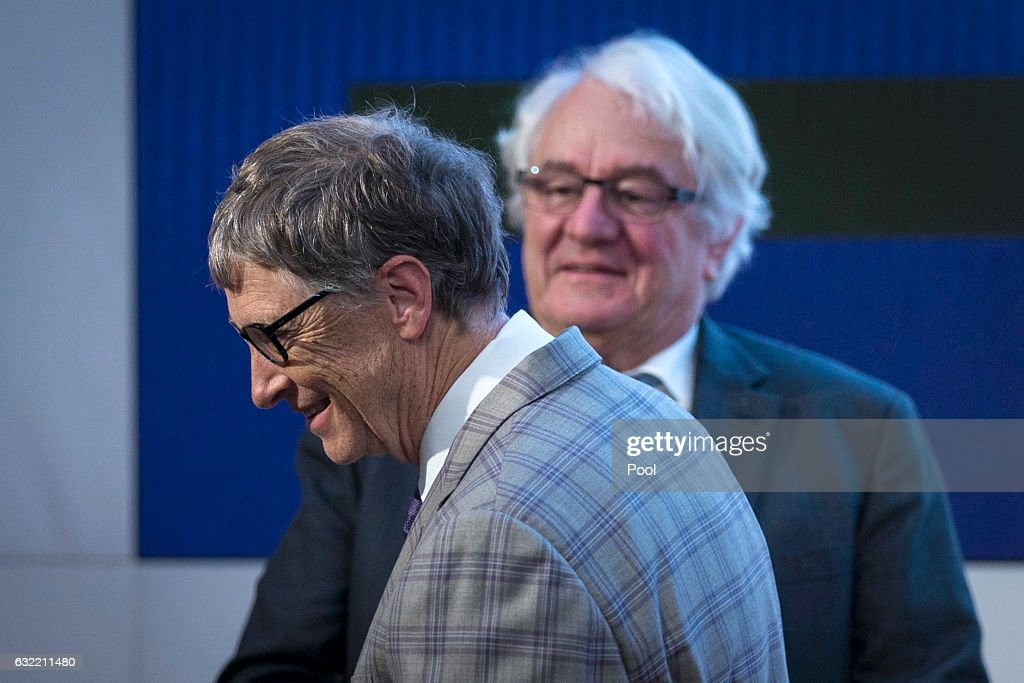 Bill Gates and Hasso Plattner attend the official opening of the Barberini Museum on January 20, 2017 in Potsdam, Germany. The Barberini, patronized by billionaire Hasso Plattner, features works by Monet, Renoir and Caillebotte among others.
