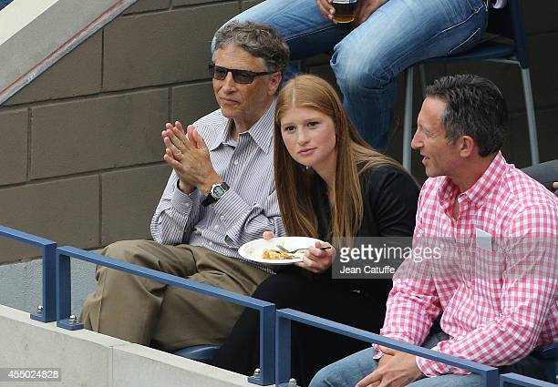 Bill Gates and his daughter Jennifer Gates attend the men's final on Day 15 of the 2014 US Open at USTA Billie Jean King National Tennis Center on...