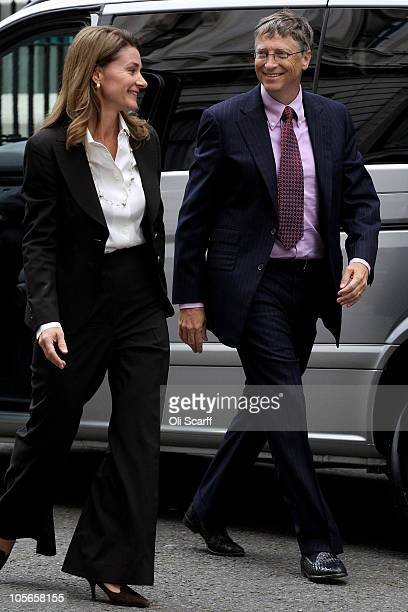 Bill Gates and his wife Melinda arrive outside Number 10 Downing Street on October 18 2010 in London England