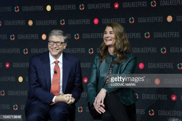 Bill Gates and his wife Melinda Gates introduce the Goalkeepers event at the Lincoln Center on September 26 in New York