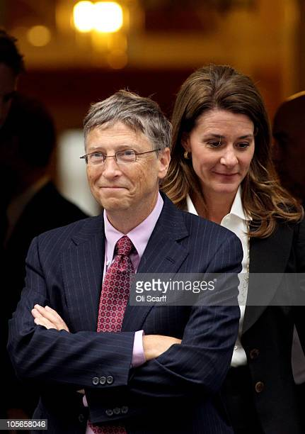Bill Gates and his wife Melinda leave Number 10 Downing Street on October 18 2010 in London England