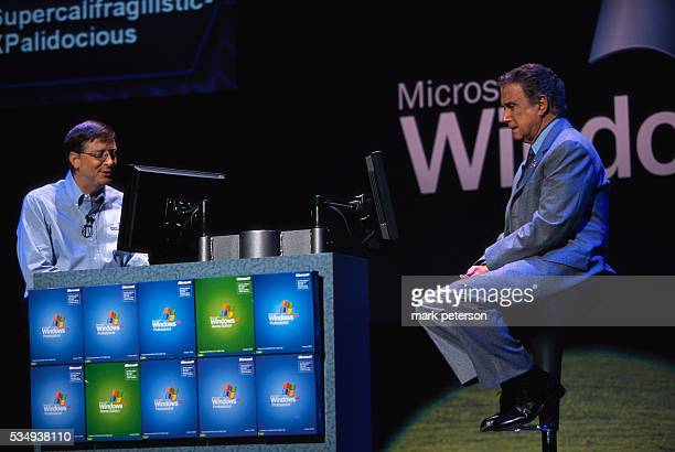 Bill Gates and Regis Philbin play 'Who Wants to be a Millionaire' at the launch of Microsoft's Windows XP operating system