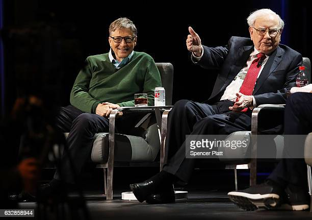 Bill Gates and Warren Buffett speak with journalist Charlie Rose at an event organized by Columbia Business School on January 27, 2017 in New York...