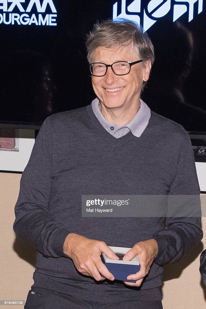 Bill Gates arrives to participate in the first live Yeh Online Bridge World Cup at Silver Cloud Hotel on October 31, 2016 in Seattle, Washington.