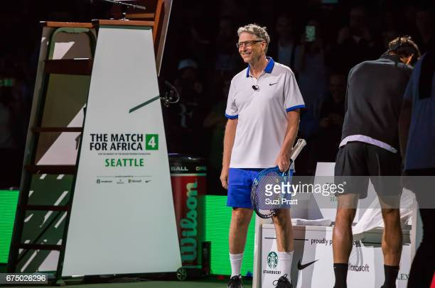 Bill Gates at the Match For Africa 4 exhibition match at KeyArena on April 29 2017 in Seattle Washington