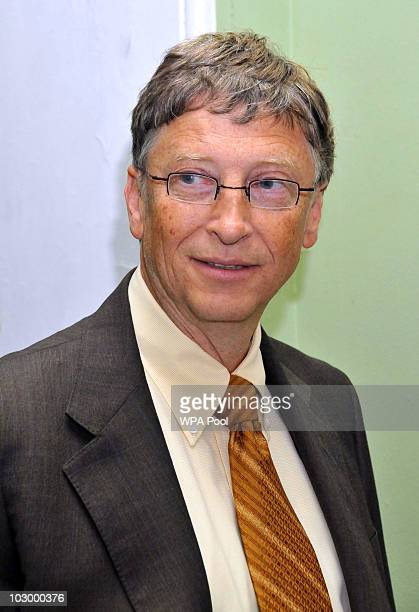 Bill Gates attends a meeting with Deputy Prime Minister Nick Clegg at the Cabinet Office on July 20 2010 in London England Following a meeting with...