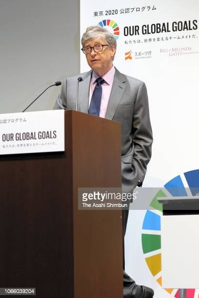 Bill Gates attends a press conference of the Tokyo 2020 Olympic Organising Committee 'Our Global Goals' on November 9 2018 in Tokyo Japan