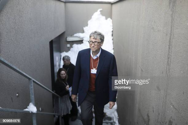 Bill Gates billionaire and cochair of the Bill and Melinda Gates Foundation arrives ahead of a Bloomberg Television interview on day two of the World...