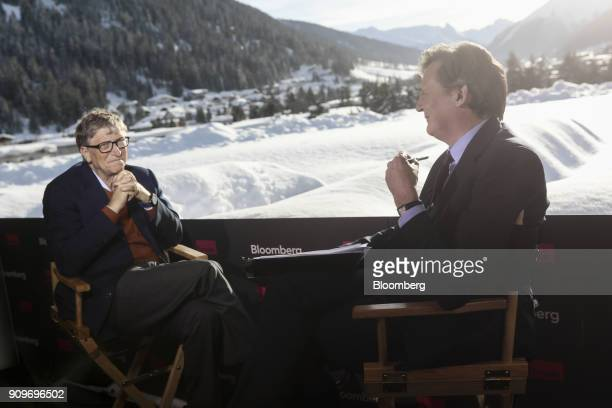 Bill Gates billionaire and cochair of the Bill and Melinda Gates Foundation left speaks with John Micklethwait editorinchief of Bloomberg News during...
