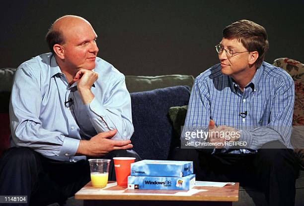 Bill Gates Chairman and CEO of Microsoft talks with Steven Ballmer who was named President of Microsoft July 21 1998 in Redmond Washington Ballmer...