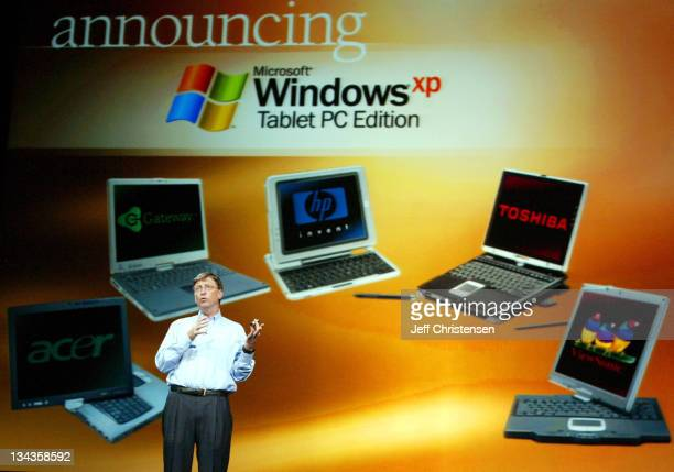 Bill Gates Chairman and Chief Software Architect at Microsoft makes a point during his keynote address November 16 2003 in Las Vegas During his...