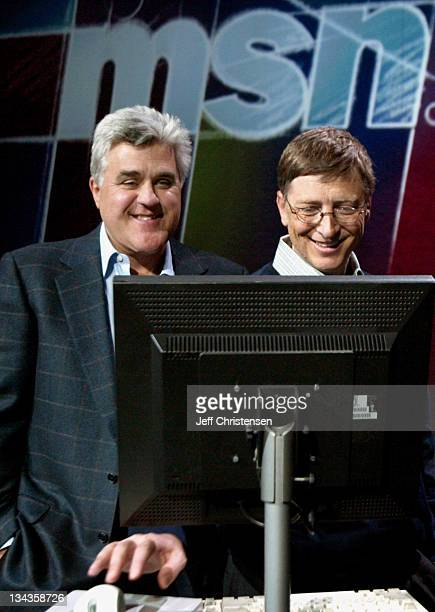 Bill Gates Chairman and Chief Software Architect at Microsoft shows 'Tonight Show' host Jay Leno the new MSN Premium service before a keynote address...