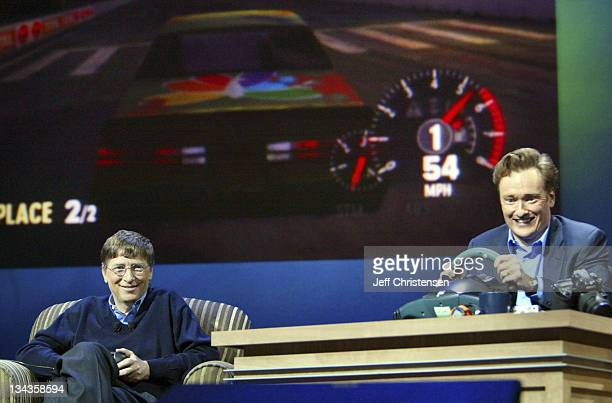 Bill Gates, chairman and chief software architect of Microsoft Corp. Plays an Xbox car racing game against talk show host Conan O'Brien as part of...