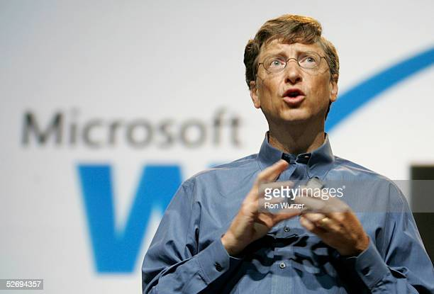 Bill Gates Chairman and Chief Software Architect of Microsoft Corporation delivers the keynote speech at the WinHEC 2005 the 14th annual Microsoft...