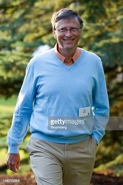 Bill Gates, chairman and founder of Microsoft Corp., arrives for the morning session at the Allen & Co. Media and Technology Conference in Sun...