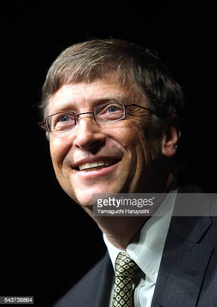 Bill Gates chairman of Microsoft Corp speaks during a news conference in Tokyo Japan