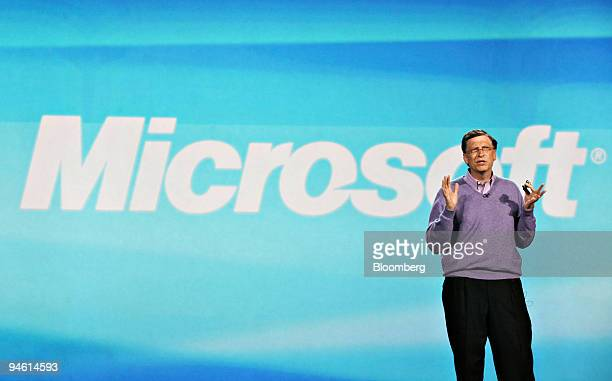 Bill Gates chairman of Microsoft Corp speaks during the Consumer Electronics Show in Las Vegas Nevada US on Sunday Jan 6 2008 Microsoft the world's...