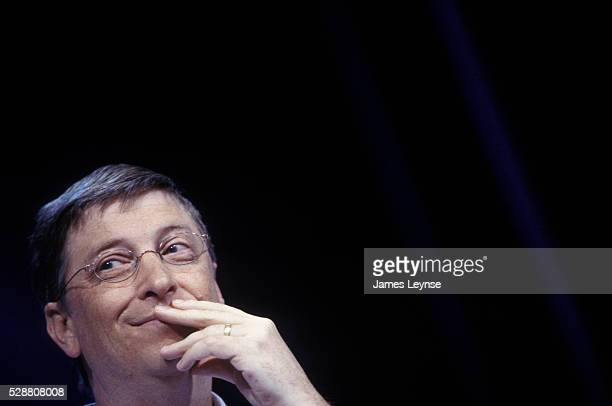 Bill Gates Chairman of Microsoft launches the new Tablet PC Microsoft's concept for the future of computing