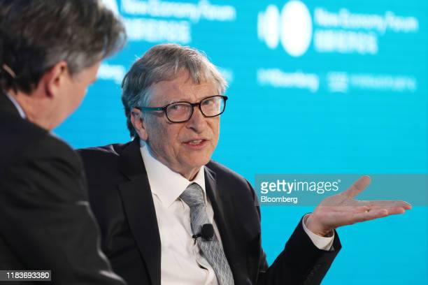 Bill Gates, co-chair of the Bill and Melinda Gates Foundation, speaks during the Bloomberg New Economy Forum in Beijing, China, on Thursday, Nov. 21,...