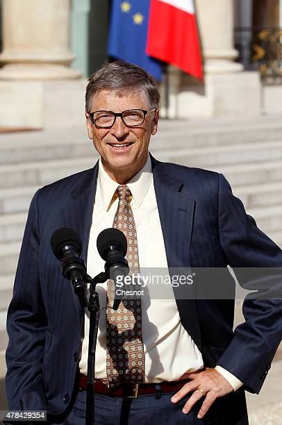 Bill Gates cofounder of Microsoft and cofounder of the Bill and Melinda Gates Foundation speaks to the media after a meeting with French President...