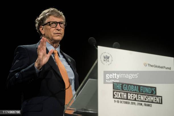 Bill Gates delivers a speech at the fundraising day at the Sixth World Fund Conference in Lyon France on October 10 2019