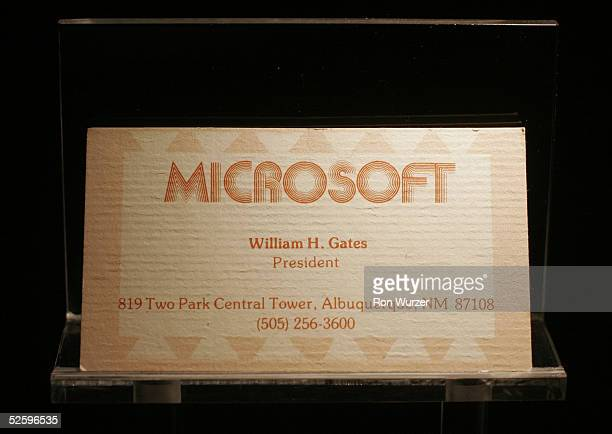 Bill Gates' first business card when Microsoft was located in New Mexico from 19751979 lies on display at the Microsoft Visitor Center April 6 2005...