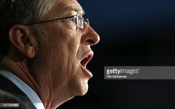 Bill Gates former CEO of Microsoft and cochair of the Bill and Melinda Gates Foundation speaks to the Association of Public and LandGrant...